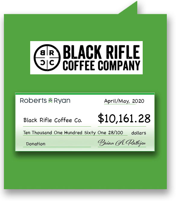 $10, 161.28 donation to Black Rifle Coffee