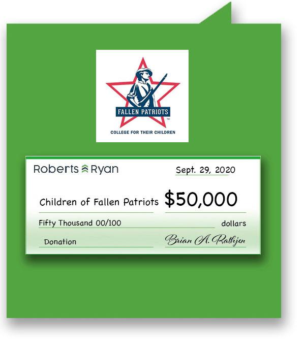 $50,000 donation to Children of Fallen Patriots