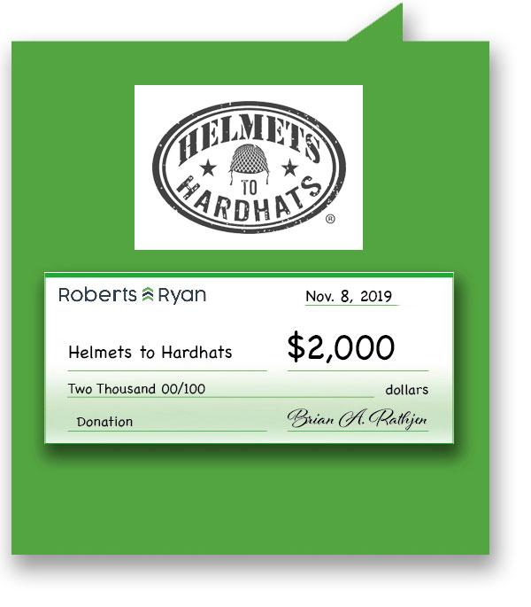 $2,000 donation to Helmets to Hardhats