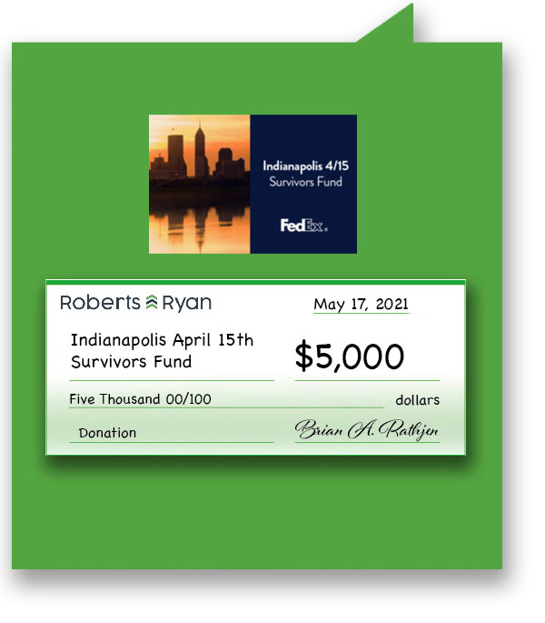 $5000 donated to Indianapolis April 15th Survivors Fund