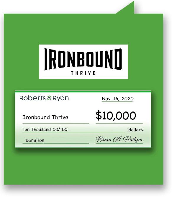 $10,000 donation to Ironbound Thrive