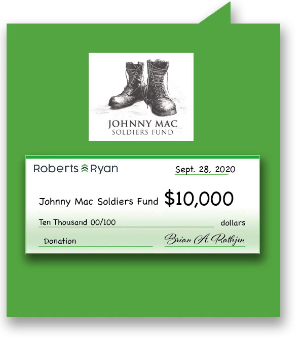 $10,000 donation to Johnny Mac Soldiers Fund