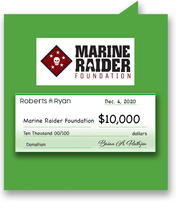 $10,000 donation to Marine Raider Foundation