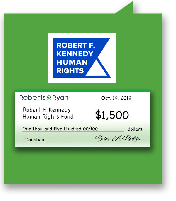 $1,500 donation to RFK Human Rights Fund