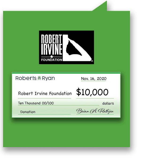 $10,000 donation to Robert Irvine Foundation