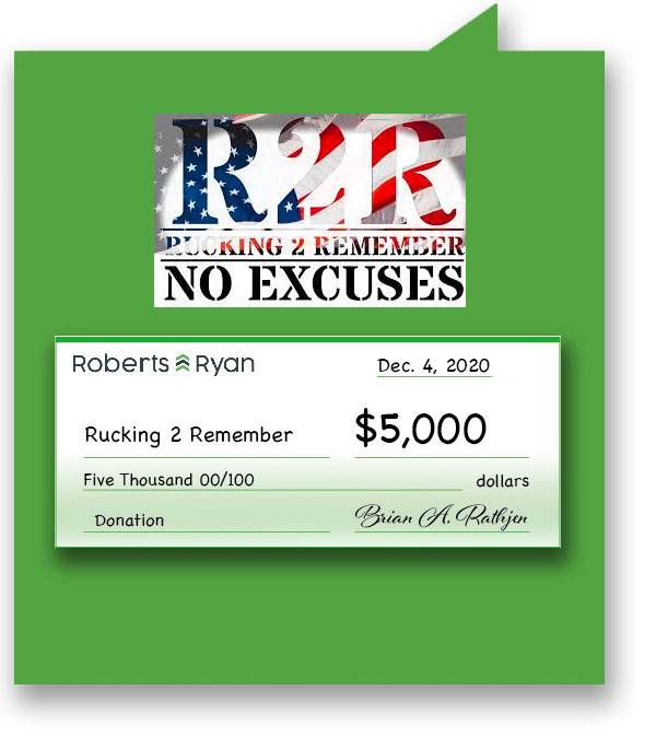 $5,000 donation to Rucking to Remember