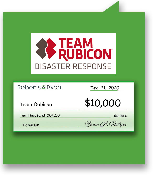 $10,000 donation to Team Rubicon