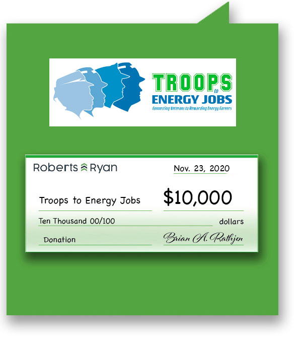 $10,000 donation to Troops to Energy Jobs