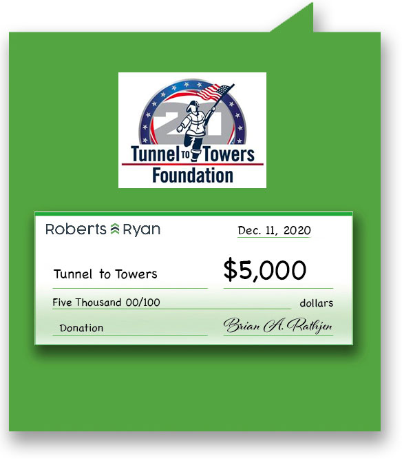 $5,000 donation to Tunnels to Towers