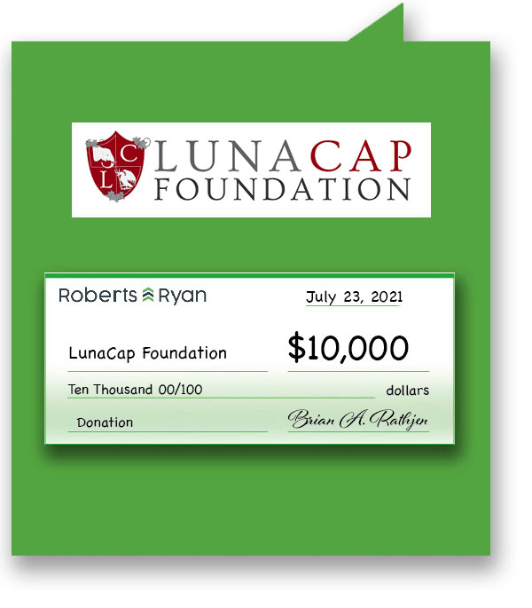 Roberts and Ryan donated $10,000 to LunaCap Foundation