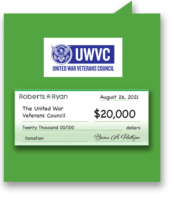 $20,000 donated to UWVC by Roberts and Ryan